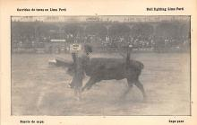 spof017328 - Suerte de Capa, Bull Fighting Lima Peru Tarjeta Postal Bullfighting