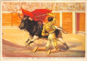 spof017342 - Passe a Genoux Avec La Muleta Tarjeta Postal Bullfighting