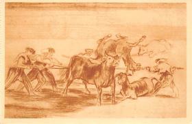 spof017387 - Palenque de los mozos hecho con burros, Museo del Prado Bullfighting
