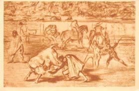spof017392 - Pepe Hillo haciendo el recoret al toro, Museo del Prado Tarjeta Postal Bullfighting