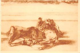 spof017407 - Caida de un picador de su caballo, debajo del toro Tarjeta Postal Bullfighting