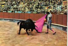 spof017492 - Corriendo el toro a una Mano, a Pass with the Cloak Tarjeta Postal Bullfighting