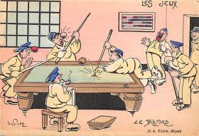 spof018004 - Les Jeus, Les Billiard Billiards, Pool Postcard Carte Postale