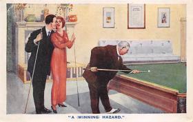 spof018005 - A Winning Hazard Billiards, Pool Postcard Carte Postale