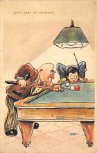 spof018047 - Quel Naso mi Confonde Billiards, Pool Postcard Carte Postale