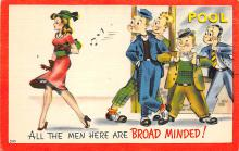 spof018049 - All the men here are Broad Minded Billiards, Pool Postcard Carte Postale