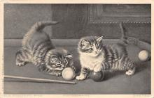 spof018053 - Two Cats, H.H. Couldery Pinx Pool Billiards  Carte Postale