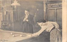 spof018055 - Woman and man Playing Billiards Pool Billiards  Carte Postale