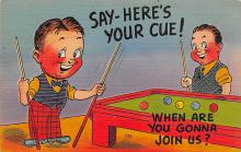 spof018066 - Say Here's Your Cue Pool Billiards  Carte Postale
