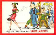 spof018271 - All the Men Here are Broad Minded Pool Billiards Postcard Carte Postale