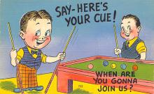 spof018272 - Say Here's Your Cue Pool Billiards Postcard Carte Postale