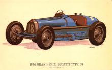 spof020221 - 1934 Grand Prix Bugatti Type 59 Auto Race Car, Racing Postcard