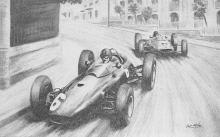 spof020673 - Graham Hill on the BRM Winner of the 1963 Monaco Grand Prix Auto Racing, Race Car