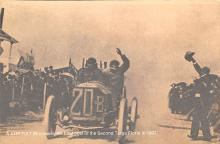 spof020868 - A 4 HP Fiat 28 crosses the final psot of the Second Targa Florio in 1907 Automobile Racing, Race Car Postcard