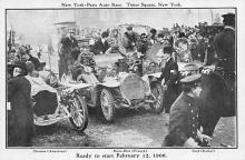 spof020911 - Ready to Start Feb 12, 1908, New York Paris Auto Race Automobile Racing, Race Car Postcard