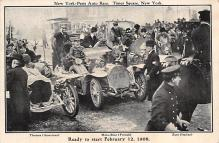 spof020913 - Ready to Start Feb 12, 1908, New York Paris Auto Race Automobile Racing, Race Car Postcard