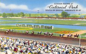 spof021082 - Centennial Park, Denver, CO, USA Horse Racing Trotter, Postcard