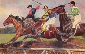 spof021306 - Misc Artist Signed Horse Racing Postcard