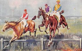 spof021307 - Misc Artist Signed Horse Racing Postcard