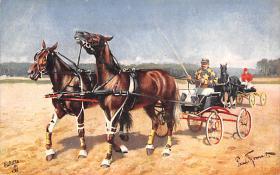 spof021312 - Misc Artist Signed Horse Racing Postcard