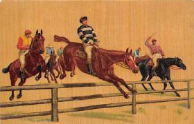 spof021314 - Misc Artist Signed Horse Racing Postcard