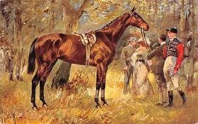 spof021315 - Misc Artist Signed Horse Racing Postcard