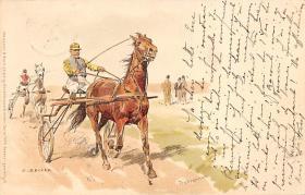 spof021411 - Artist C. Becker, Horse Racing, Trotters, Postcard