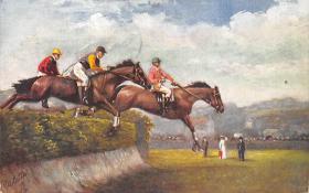 spof021415 - Steeplechasing, Horse Racing, Trotters, Postcard