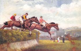 spof021430 - Steeplechasing, Horse Racing, Trotters, Postcard