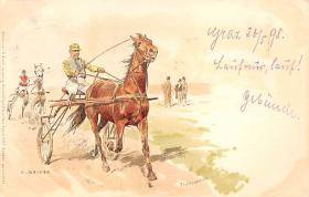 spof021441 - Artist C. Becker, Horse Racing, Trotters, Postcard