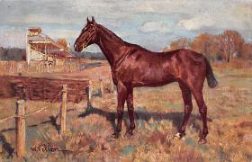 spof021457 - Artist W. Velton, Horse Racing, Trotters, Postcard