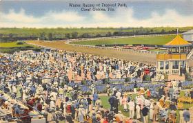 spof021558 - Coral Gables, FL USA Horse Racing Old Vintage Antique Postcard