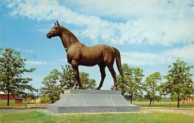 spof021600 - Man-O-War Statue, Faraway Farm, Lexington, KY USA Horse Racing Old Vintage Antique Postcard