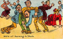 spof022006 - We're all Learning to Skate Roller Skating Postcard
