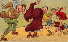 spof022007 - When father Says Turn….Roller Skating Postcard