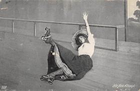 spof022082 - Her First Attempt, Roller Skating Postcard