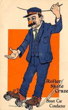 spof022086 - Street Car Conductor, Roller Skating Postcard