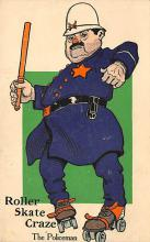 spof022107 - Roller Skate Craze, The Policeman, Roller Skating Postcard