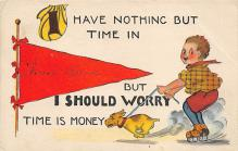 spof022117 - I Should Worry, Time is Money, Roller Skating Postcard