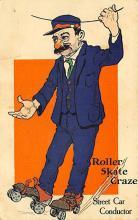 spof022119 - Roller Skate Craze, Street Car Conductor, Roller Skating Postcard