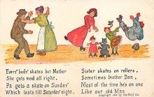 spof022123 - Everybody skates but Mother, Roller Skating Postcard