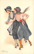 spof022129 - Girls, Roller Skating Postcard, Artist Susan Meunier