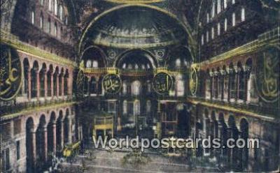 TR00044 - Interieur de la Mosquee, Ste Sophie Constantinople, Turkey Postcard Post Card, Kart Postal, Carte Postale, Postkarte, Country Old Vintage Antique