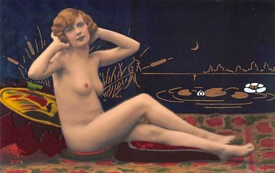 tin000027 - French Tinted Nude Old Vintage Antique Post Card