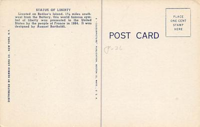top017005 - Statue of Liberty Post Card  back