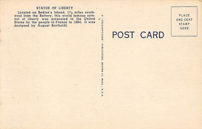 top017421 - Statue of Liberty Post Card  back