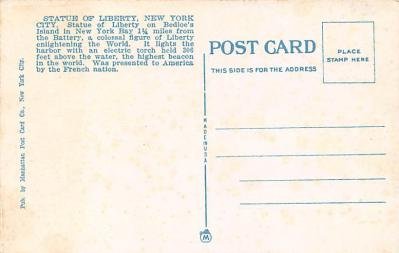 top017427 - Statue of Liberty Post Card  back
