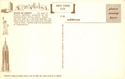 top017463 - Statue of Liberty Post Card  back