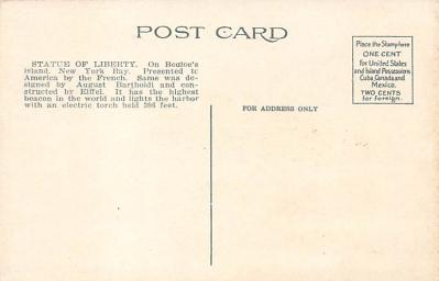 top017467 - Statue of Liberty Post Card  back