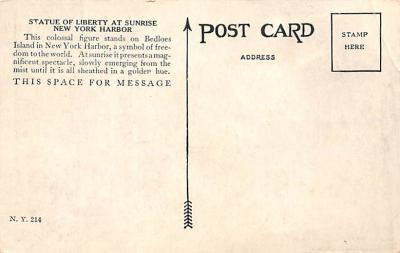 top017473 - Statue of Liberty Post Card  back